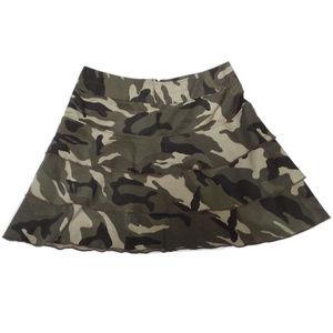 INC Layered Ruffled Camo Print Mini Skirt